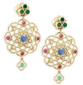 Temple St. Clair 18K Yellow Gold, Diamond and Gemstone Chandelier Earrings
