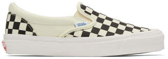 Vans Black and Off-White OG Checkerboard Classic Slip-On Sneakers