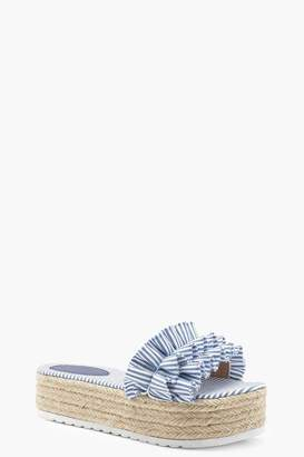 boohoo Striped Ruffle Espadrille Flatforms