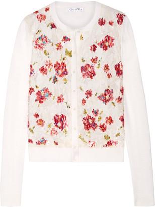 Oscar de la Renta - Embellished Lace-paneled Wool And Silk-blend Cardigan - Cream $2,290 thestylecure.com