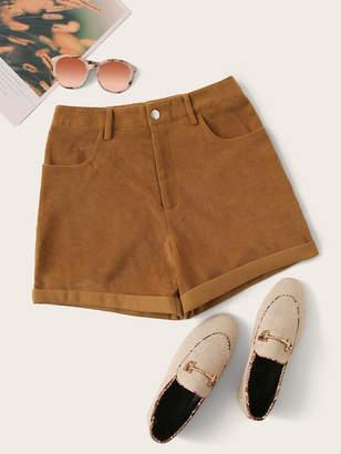 Shein Rolled Hem Corduroy Shorts