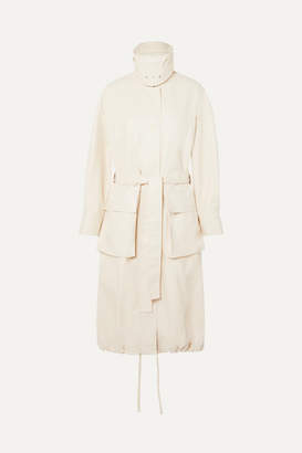 Low Classic Faux Leather Coat - Ivory