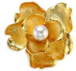 Kenneth Jay Lane Faux-Pearl Flower Brooch