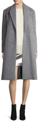 Halston Wool-Blend Faux-Fur Combo Coat