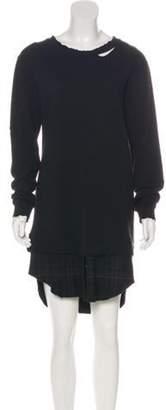 RtA Denim Wool-Blend Distressed Midi Dress Black Denim Wool-Blend Distressed Midi Dress