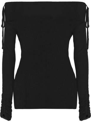 Veronica Beard Nolan Ballet Off-the-shoulder Ribbed Merino Wool Sweater - Black