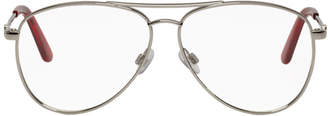 Balenciaga Silver Thin Metal Double Bridge Aviator Glasses