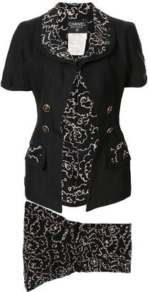 Chanel Pre-Owned sketch floral printed skirt suit
