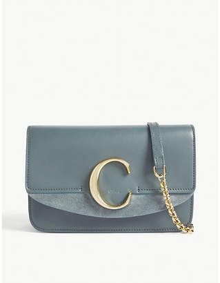 Chloé Women's Cloudy Blue C Leather and Suede Shoulder Bag