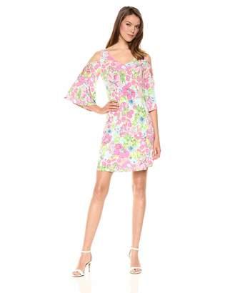 MSK Women's Cold Shoulder Flutter Sleeves Dress