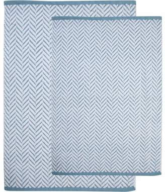 Saffron Fabs Bath Rug 2-Piece Set, Handloom Woven Textured Stripes Pattern, Assorted Colors and Sizes