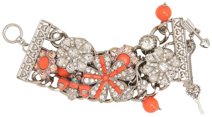 Betsey Johnson Coral Glam Coral Flower Wide Toggle Bracelet (Coral) - Jewelry