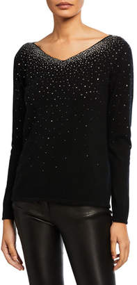 Neiman Marcus Cashmere Crystal Embellished Boat-Neck Sweater
