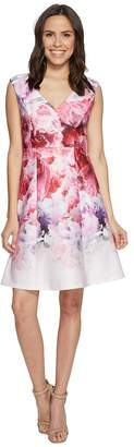 Adrianna Papell Peony Cloud Printed Scuba Surplus Fit and Flare Dress Women's Dress