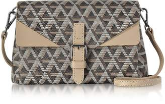 Ikon Lancaster Paris Brown & Nude Coated Canvas and Leather Mini Clutch