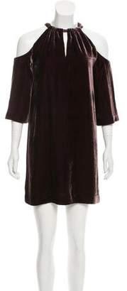 Trina Turk Cold-Shoulder Velvet Dress