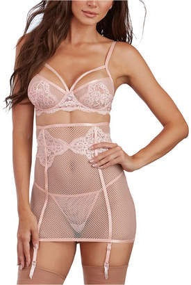 Dreamgirl 3 Piece Set - Fishnet and Lace Bra, Garter Skirt and G-String