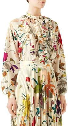 Gucci Floral Silk Crepe de Chine Blouse