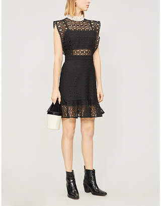 Sandro Ladies Black Broderie Anglaise Panelled Cotton-Blend Dress