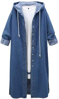 Suncolor8-Women Suncolor8 Womens Lightweight Open Front Trench Jacket Coat Hooded Cardigan XL