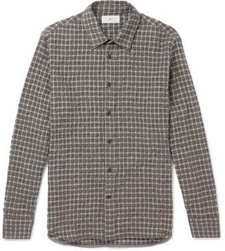 Mr P. Checked Textured Wool And Cotton-Blend Shirt