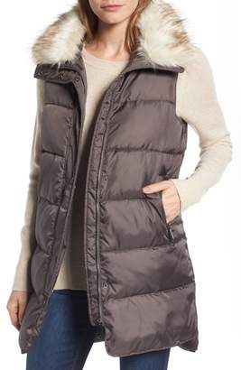 Women's Sam Edelman Faux Fur Trim Long Quilted Vest