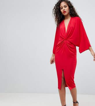 Flounce London Tall Wrap Front Kimono Midi Dress