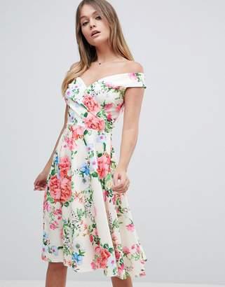 Jessica Wright Bardot Floral Prom Dress