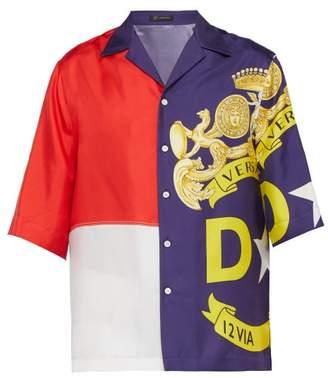 Versace Panelled Logo Print Short Sleeved Silk Shirt - Mens - Multi