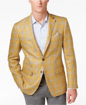 Tallia Men's Slim-Fit Yellow and Gray Windowpane Sport Coat $350 thestylecure.com