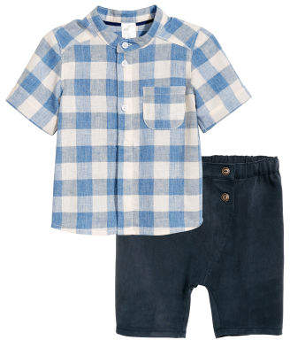 H&M Band-collar Shirt and Shorts - Blue