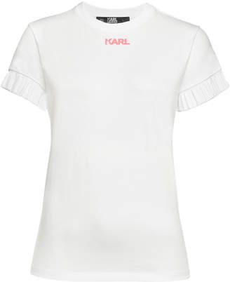 Karl Lagerfeld Paris Neon Lights Printed Cotton T-Shirt