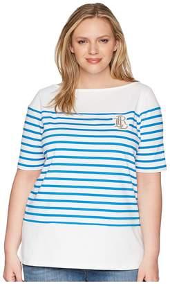 Lauren Ralph Lauren Plus Size LRL Striped Cotton T-Shirt Women's Clothing