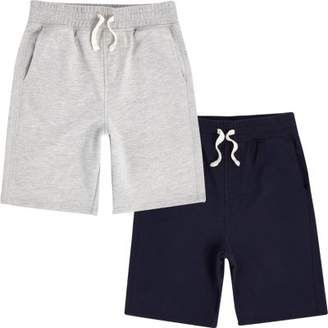 River Island Boys navy and grey jersey shorts