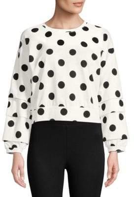 Romeo & Juliet Couture Boxy Crop Polka Dot Sweatshirt