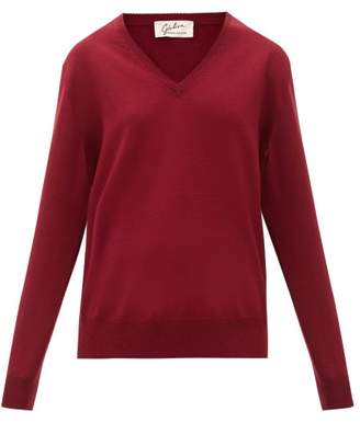 Giuliva Heritage Collection The Euridice V Neck Virgin Wool Sweater - Womens - Burgundy