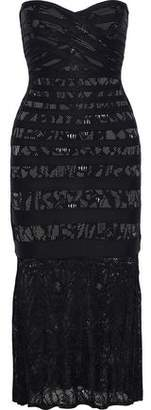 Herve Leger Pailey Crochet Knit-Paneled Jacquard-Knit Bandage Midi Dress