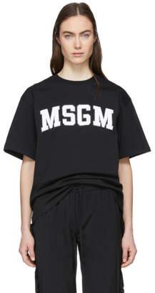 MSGM Black College Logo T-Shirt