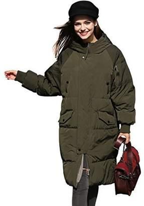 YOU.U Winter Coat Women Anorak Long Puffer Down Coat Thick Snow Waterproof Coat Bubble Quilted Cute Coat Warm Over Casual Coat Trendy Designer Coat Fashion Padded Large Coat Knee Length Heavy Coat -S