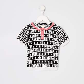 River Island Mini girls White RI monogram polo shirt