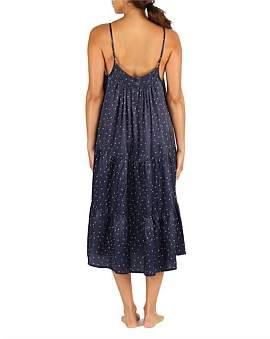 Papinelle Navy Spot Silky Tiered Midi