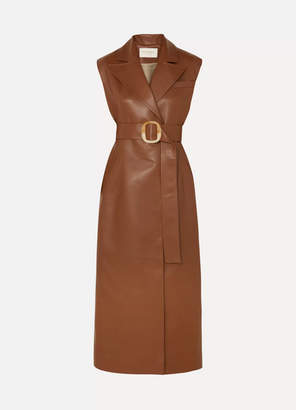 MATÉRIEL Belted Vegan Leather Dress - Brown