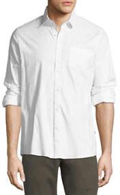 Stretch-Woven Button-Down Shirt White