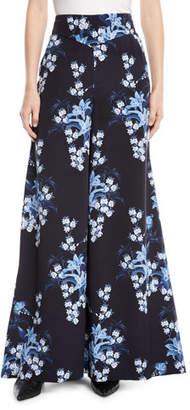 Johanna Ortiz Dream State High-Waist Flared Wide-Leg Floral-Print Silk Pants