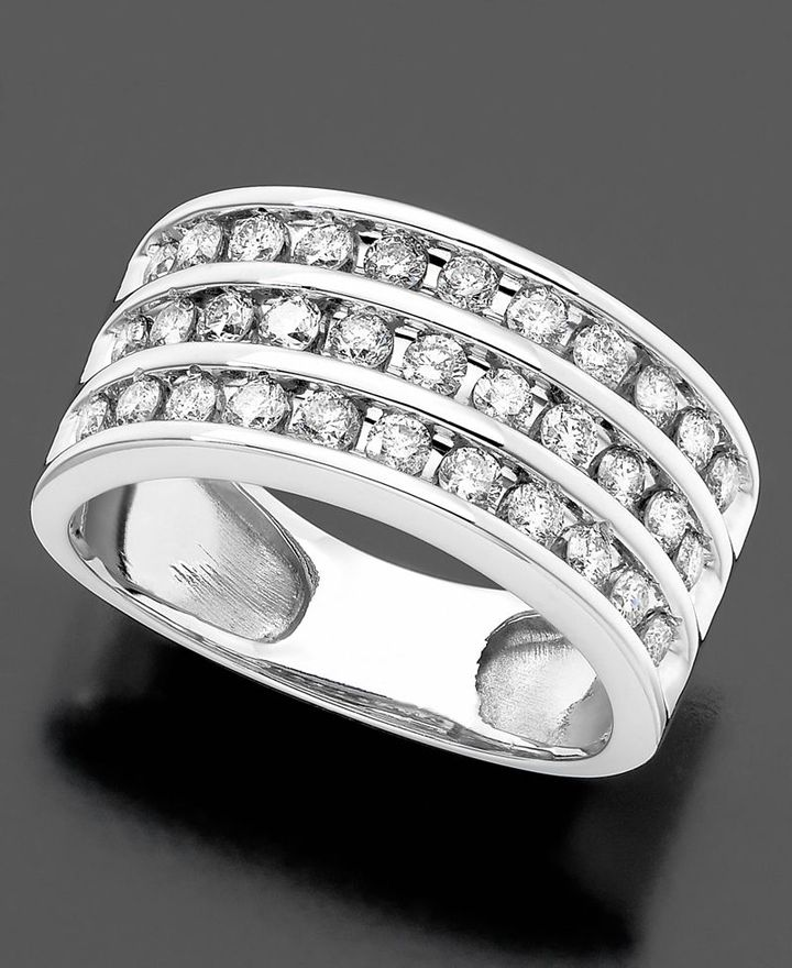 14k White Gold Ring, Diamond Three Row (1 ct. t.w.)