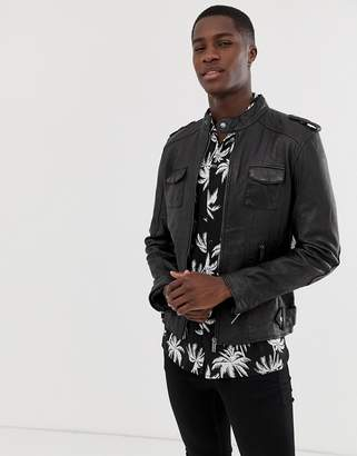 four pocket real leather jacket
