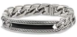 David Yurman Maritime Onyx& Sterling Silver Curb Link ID Bracelet