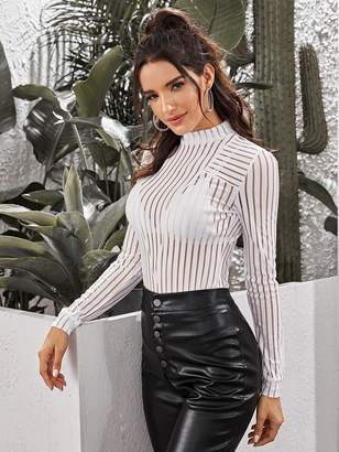 Shein Striped Mesh Insert Sheer Top