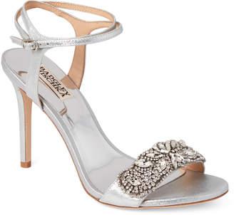 Badgley Mischka Silver Hailey Embellished Ankle Strap Sandals