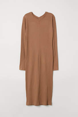 H&M Rib-knit Dress - Beige